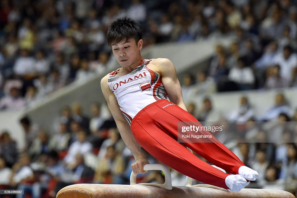 <a gi-track='captionPersonalityLinkClicked' href=/galleries/search?phrase=Kohei+Uchimura&family=editorial&specificpeople=5481263 ng-click='$event.stopPropagation()'>Kohei Uchimura</a> competes Pommel Horse during the Artistic Gymnastics NHK Trophy at Yoyogi National Gymnasium on May 5, 2016 in Tokyo, Japan.