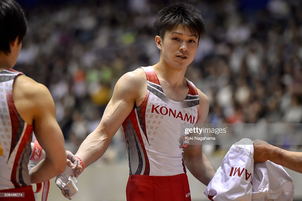 <a gi-track='captionPersonalityLinkClicked' href=/galleries/search?phrase=Kohei+Uchimura&family=editorial&specificpeople=5481263 ng-click='$event.stopPropagation()'>Kohei Uchimura</a> looks on in the Rings during the Artistic Gymnastics NHK Trophy at Yoyogi National Gymnasium on May 5, 2016 in Tokyo, Japan.