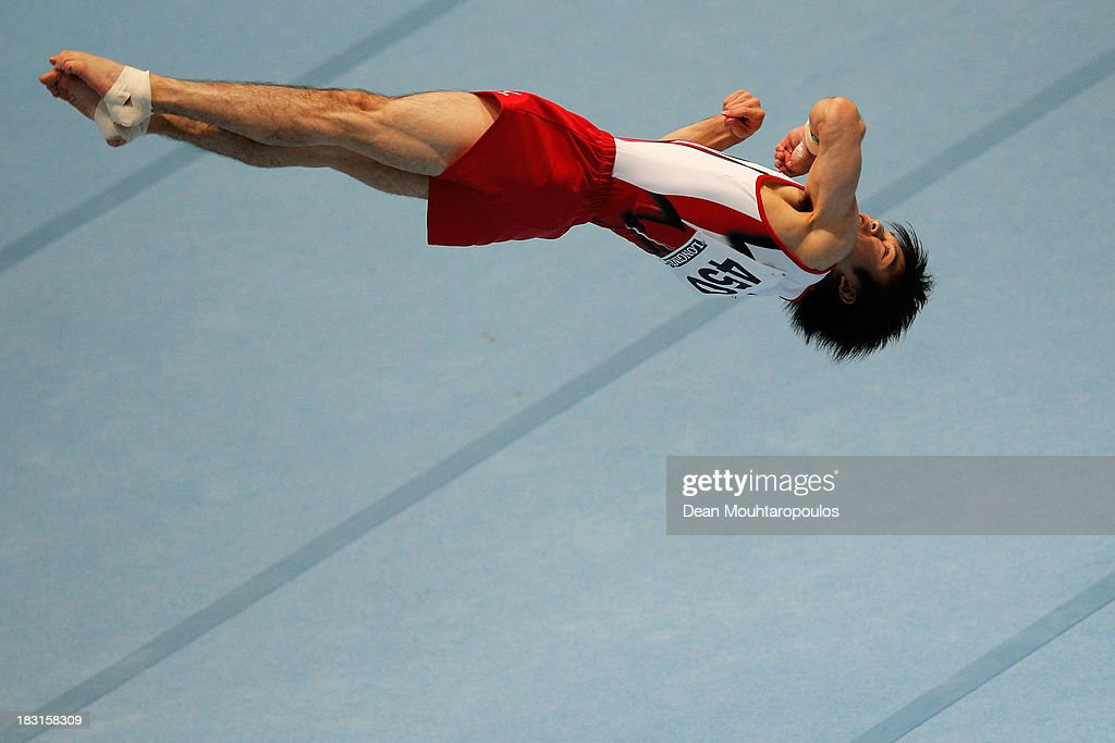 Kohei Uchimura of Japan competes Floor Exercise Final on Day Six of the Artistic Gymnastics World Championships Belgium 2013 held at the Antwerp Sports Palace on October 5, 2013 in Antwerpen, Belgium.