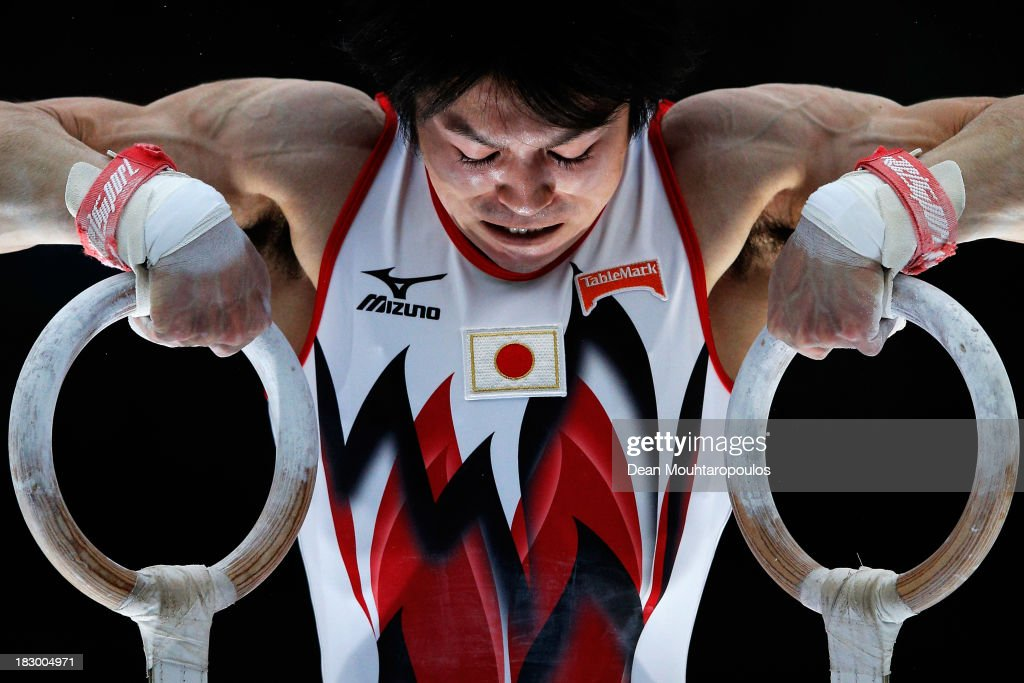<a gi-track='captionPersonalityLinkClicked' href=/galleries/search?phrase=Kohei+Uchimura&family=editorial&specificpeople=5481263 ng-click='$event.stopPropagation()'>Kohei Uchimura</a> of Japan competes in the Rings during the Mens All-Around Final on Day Four of the Artistic Gymnastics World Championships Belgium 2013 held at the Antwerp Sports Palace on October 3, 2013 in Antwerpen, Belgium.