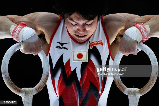 Kohei Uchimura of Japan competes in the Rings during the Mens AllAround Final on Day Four of the Artistic Gymnastics World Championships Belgium 2013...