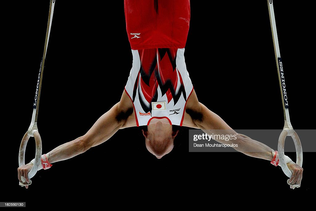 <a gi-track='captionPersonalityLinkClicked' href=/galleries/search?phrase=Kohei+Uchimura&family=editorial&specificpeople=5481263 ng-click='$event.stopPropagation()'>Kohei Uchimura</a> of Japan competes in the Rings Qualification on Day One of the Artistic Gymnastics World Championships Belgium 2013 held at the Antwerp Sports Palace on September 30, 2013 in Antwerpen, Belgium.