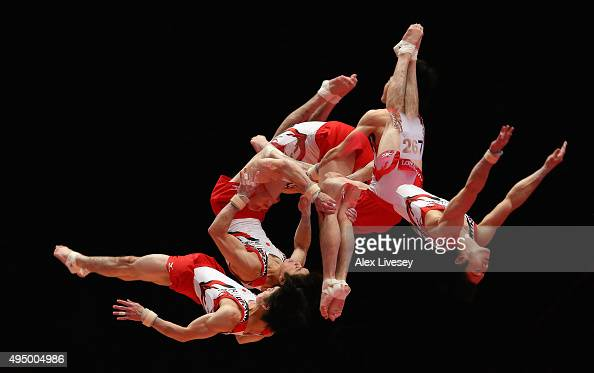 Kohei Uchimura of Japan competes in the vault during day eight of the 2015 World Artistic Gymnastics Championships at The SSE Hydro on October 30...