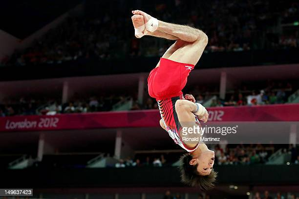 Kohei Uchimura of Japan competes on the floor in the Artistic Gymnastics Men's Individual AllAround final on Day 5 of the London 2012 Olympic Games...