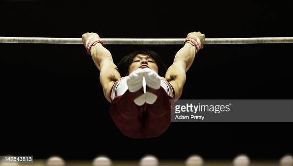 Kohei Uchimura of Japan competes on the High Bar during day one of the 66th All Japan Artistic Gymnastics All Around Championships at Yoyogi National...