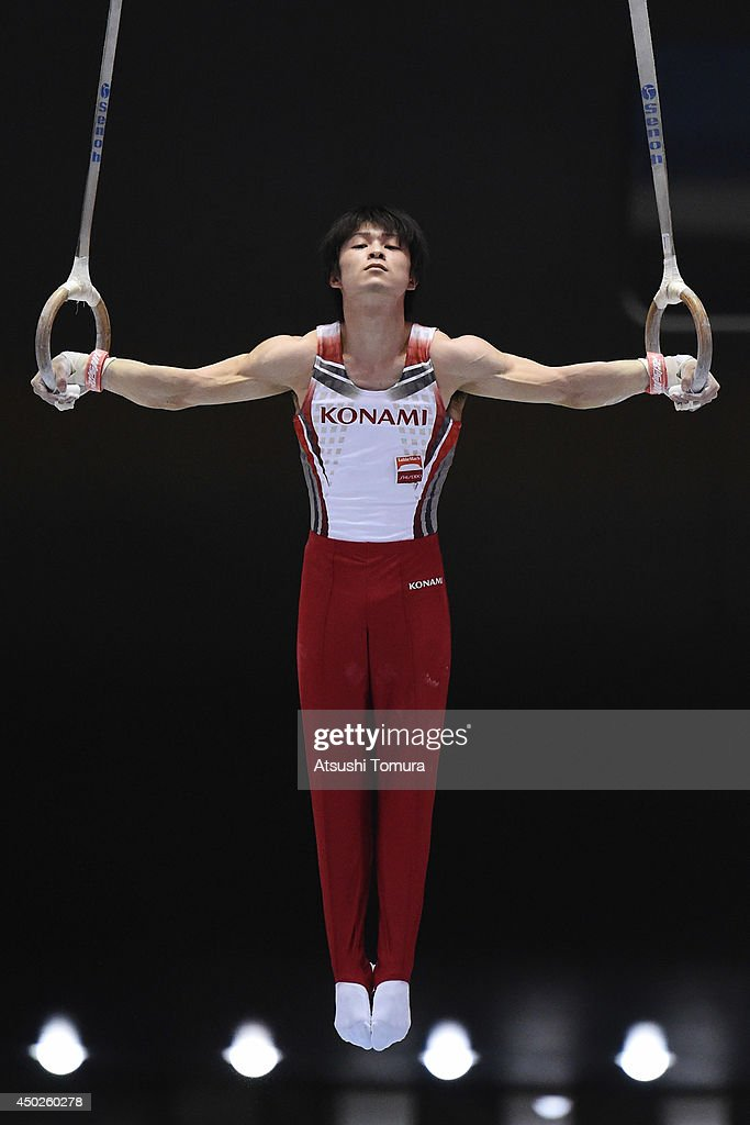 Kohei Uchimura of Japan competes on the Rings during day two of the Artistic Gymnastics NHK Trophy at Yoyogi National Gymnasium on June 8, 2014 in Tokyo, Japan.