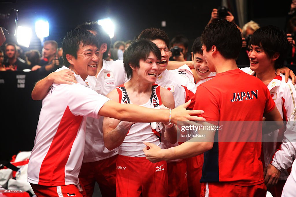 Kohei Uchimura of Japan looks on as his team win gold during day six of World Artistic Gymnastics Championship at The SSE Hydro on October 28 2015 in...