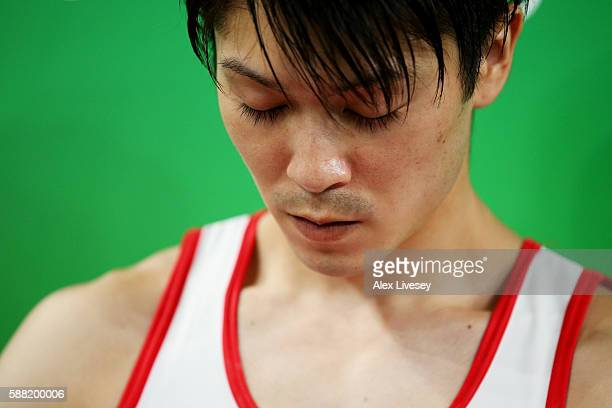 Kohei Uchimura of Japan looks on during the Men's Individual AllAround final on Day 5 of the Rio 2016 Olympic Games at the Rio Olympic Arena on...