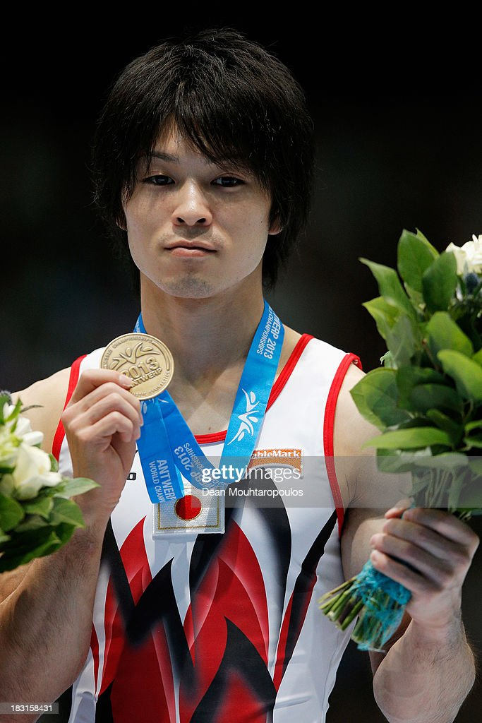 Kohei Uchimura of Japan poses after winning the bronze medal in the Floor Exercise Final on Day Six of the Artistic Gymnastics World Championships Belgium 2013 held at the Antwerp Sports Palace on October 5, 2013 in Antwerpen, Belgium.