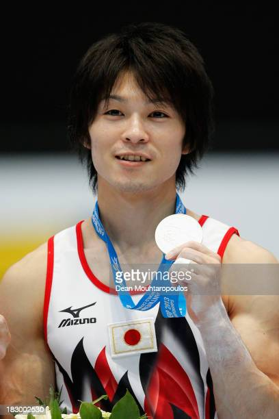 Kohei Uchimura of Japan poses with the Gold Medal after winning the Mens AllAround Final on Day Four of the Artistic Gymnastics World Championships...
