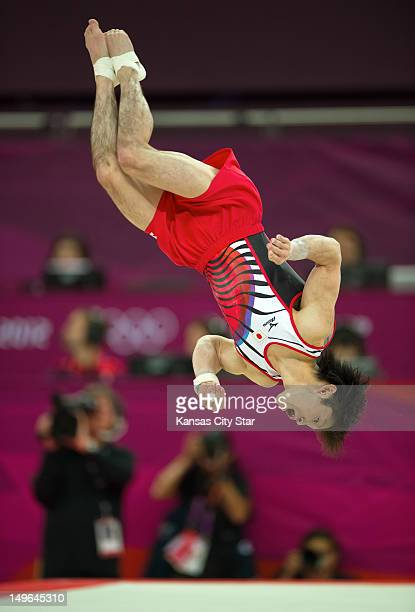 Kohei Uchimura of Japan tumbled in the floor exercises during his gold medal performance in the mens' individual allaround finals at North Greenwich...