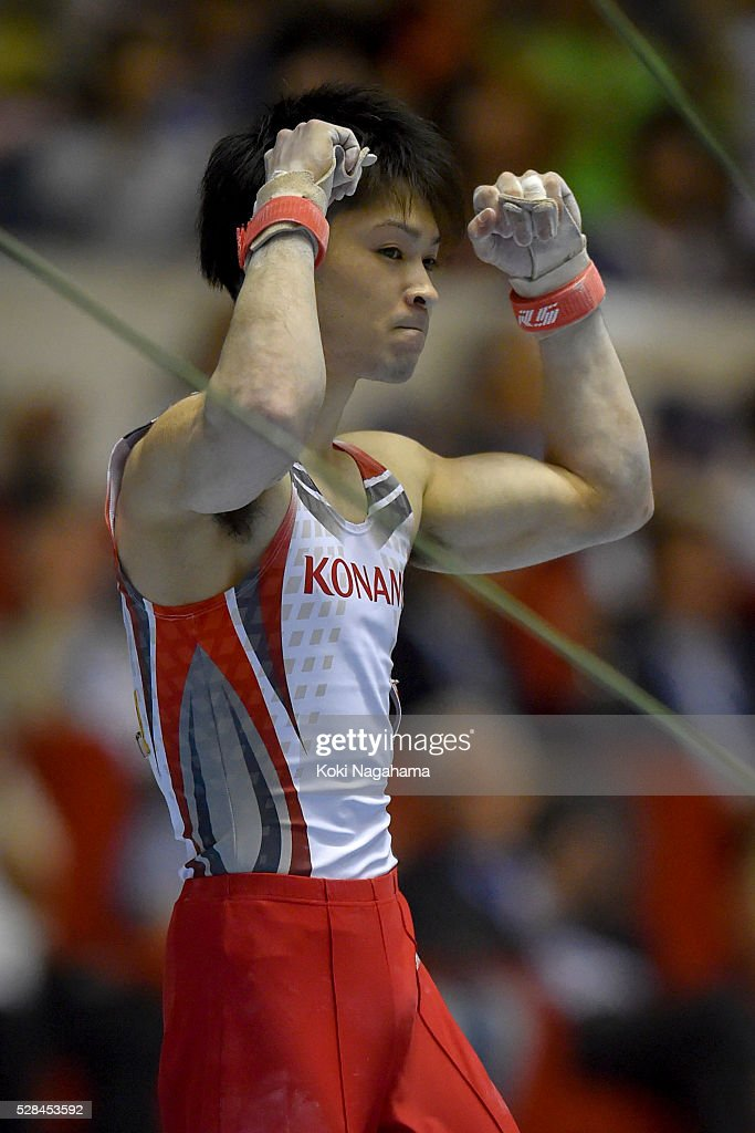 <a gi-track='captionPersonalityLinkClicked' href=/galleries/search?phrase=Kohei+Uchimura&family=editorial&specificpeople=5481263 ng-click='$event.stopPropagation()'>Kohei Uchimura</a> reacts and celebrates after competeing in the Horizontal Bar during the Artistic Gymnastics NHK Trophy at Yoyogi National Gymnasium on May 5, 2016 in Tokyo, Japan.