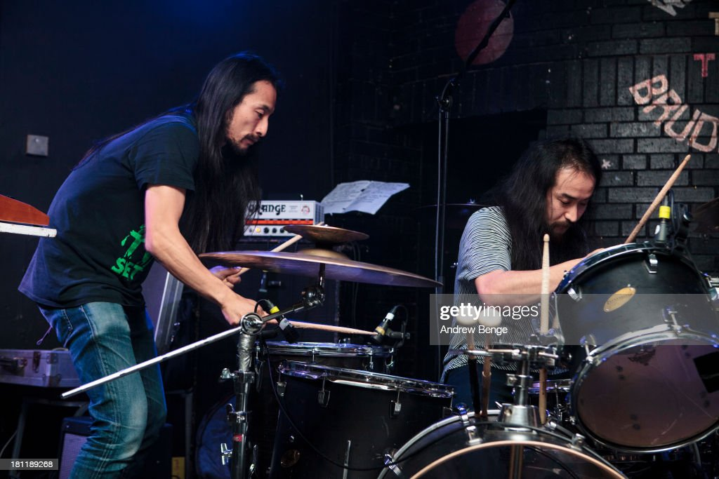 Kohhei and Mon-Chan of Xaviers perform on stage at Brudenell Social Club on September 19, 2013 in Leeds, England.