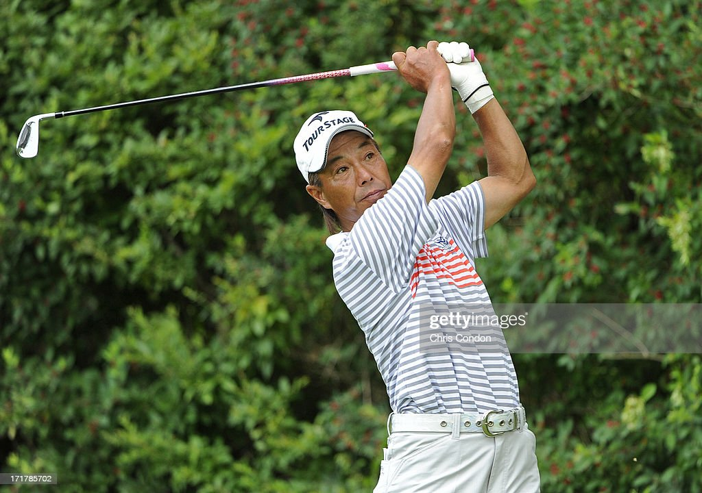 Kohki Idoki of Japan plays from the 6th tee during the second round of the Constellation SENIOR PLAYERS Championship at Fox Chapel Golf Club on June 28, 2013 in Pittsburgh, Pennsylvania.