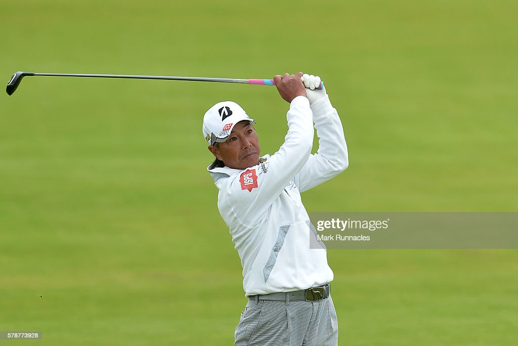 Kohki Idoki of Japan second shot to 17 during the second day of The Senior Open Championship at Carnoustie Golf Club on July 22 2016 in Carnoustie...