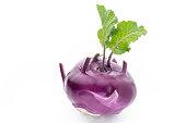 Cabbage kohlrabi isolated on white background.