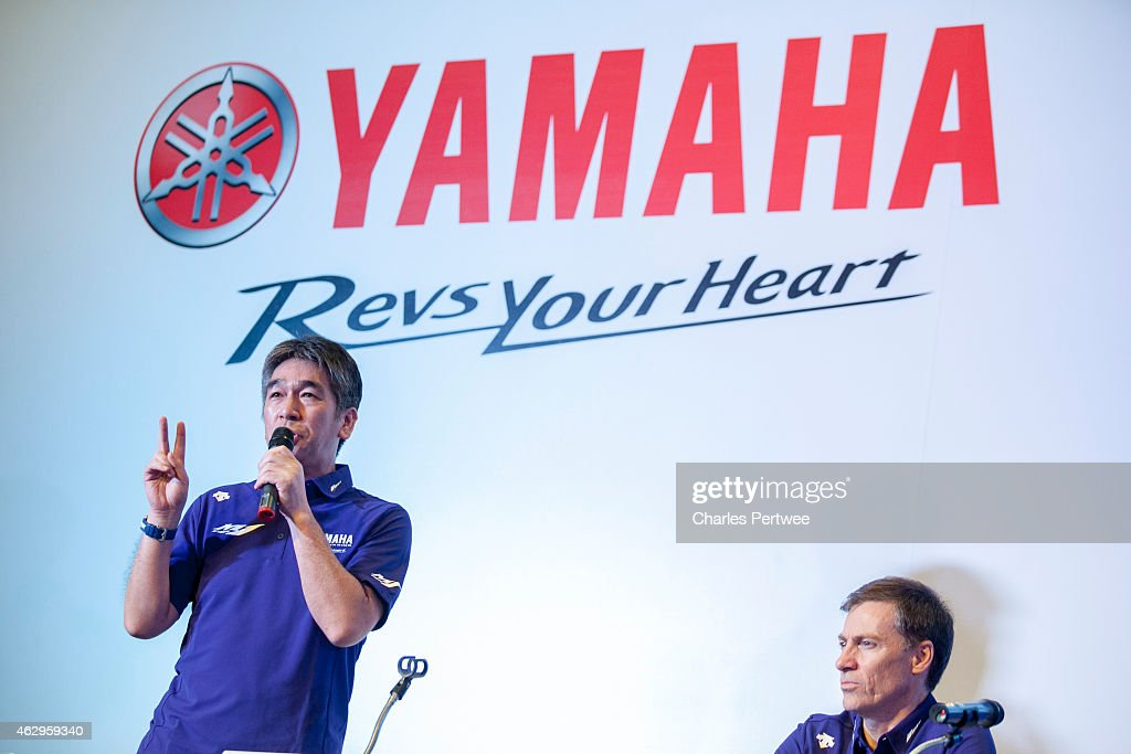 Koichi Tsuji (l), General Manager of Motor Sports Development Division, Yamaha Motor Co., LTD. presents MotoGP strategy for 2015, as <a gi-track='captionPersonalityLinkClicked' href=/galleries/search?phrase=Lin+Jarvis&family=editorial&specificpeople=6489029 ng-click='$event.stopPropagation()'>Lin Jarvis</a>, Yamaha Motor Racing, Managing Director looks during Yamaha Motor's kick-off press conference for the 2015 race season at the Sama-Sama Hotel on February 5, 2015 in Kuala Lumpur, Malaysia.