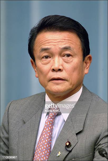 Koizumi'S New Cabinet Lineup In Tokyo Japan On September 22 2003 Minister of Public Management Home Affairs Posts and Telecommunications Taro Aso