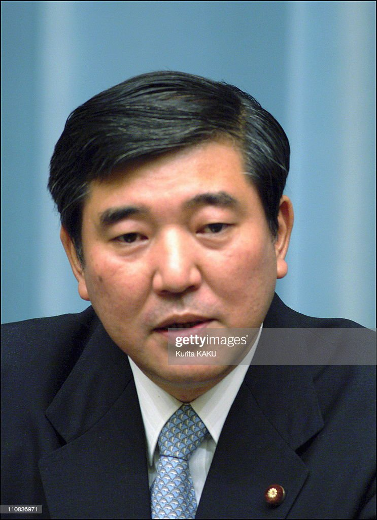 Koizumi'S New Cabinet Lineup In Tokyo, Japan On September 22, 2003 Defense Agency Director-General <a gi-track='captionPersonalityLinkClicked' href=/galleries/search?phrase=Shigeru+Ishiba&family=editorial&specificpeople=2921096 ng-click='$event.stopPropagation()'>Shigeru Ishiba</a>(46).