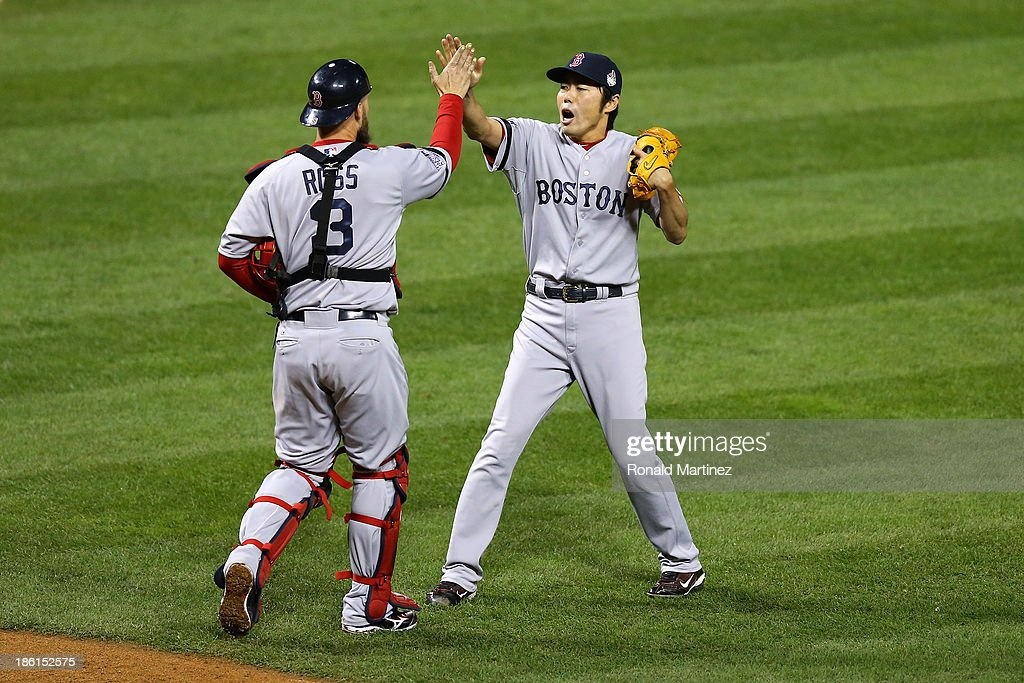 <a gi-track='captionPersonalityLinkClicked' href=/galleries/search?phrase=Koji+Uehara&family=editorial&specificpeople=801278 ng-click='$event.stopPropagation()'>Koji Uehara</a> #19 celebrates with <a gi-track='captionPersonalityLinkClicked' href=/galleries/search?phrase=David+Ross+-+Baseball+Player&family=editorial&specificpeople=210843 ng-click='$event.stopPropagation()'>David Ross</a> #3 of the Boston Red Sox as they defeat the St. Louis Cardinals 3 to 1 in Game Five of the 2013 World Series at Busch Stadium on October 28, 2013 in St Louis, Missouri.