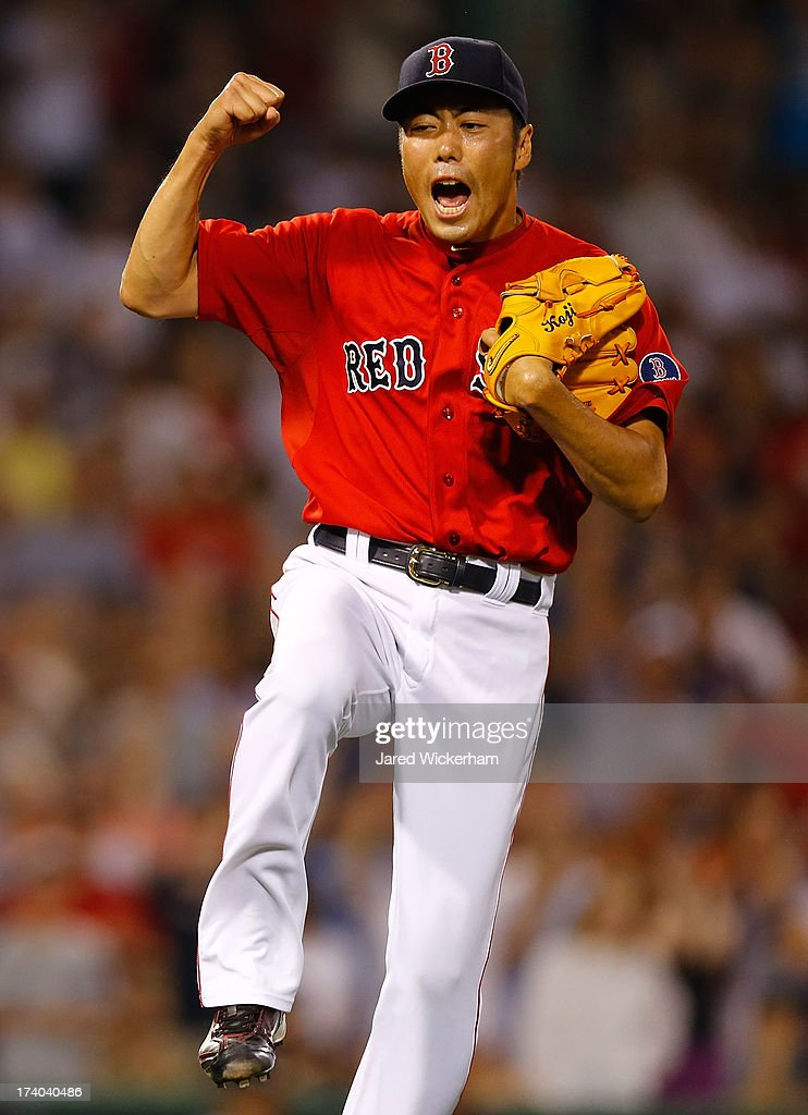 Koji Uehara #19 of the Boston Red Sox celebrates after closing out the 9th inning against the New York Yankees during the game on July 19, 2013 at Fenway Park in Boston, Massachusetts.