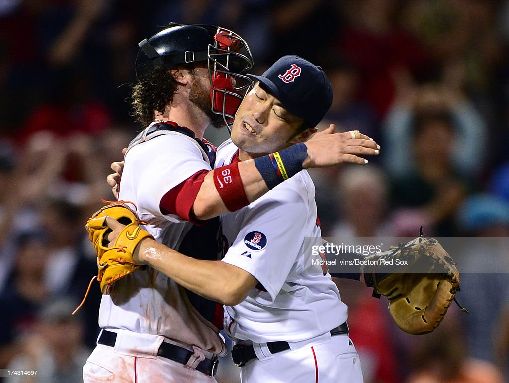 <a gi-track='captionPersonalityLinkClicked' href=/galleries/search?phrase=Koji+Uehara&family=editorial&specificpeople=801278 ng-click='$event.stopPropagation()'>Koji Uehara</a> #19 of the Boston Red Sox celebrates after pitching the ninth inning of a 6-2 win against the Tampa Bay Rays on July 23, 2013 at Fenway Park in Boston, Massachusetts.