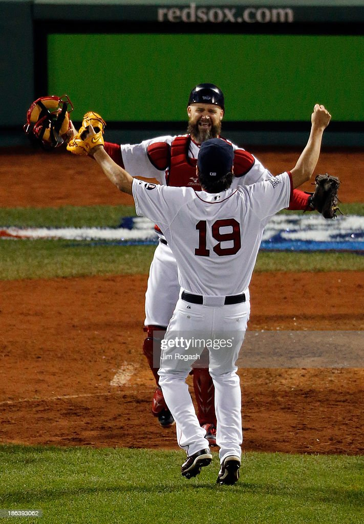 <a gi-track='captionPersonalityLinkClicked' href=/galleries/search?phrase=Koji+Uehara&family=editorial&specificpeople=801278 ng-click='$event.stopPropagation()'>Koji Uehara</a> #19 of the Boston Red Sox celebrates with <a gi-track='captionPersonalityLinkClicked' href=/galleries/search?phrase=David+Ross&family=editorial&specificpeople=210843 ng-click='$event.stopPropagation()'>David Ross</a> #3 after defeating the St. Louis Cardinals 6-1 in Game Six of the 2013 World Series at Fenway Park on October 30, 2013 in Boston, Massachusetts.
