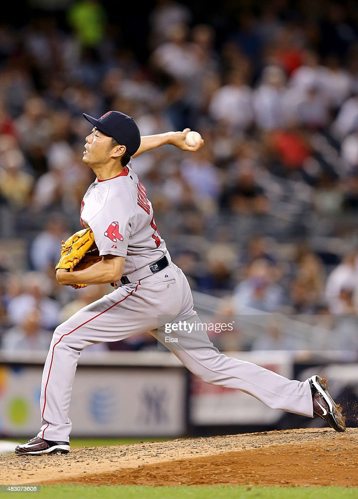 Koji Uehara #19 of the Boston Red Sox delivers a pitch in the ninth inning against the New York Yankees on August 5, 2015 at Yankee Stadium in the Bronx borough of New York City.The Boston Red Sox defeated the New York Yankees 2-1.