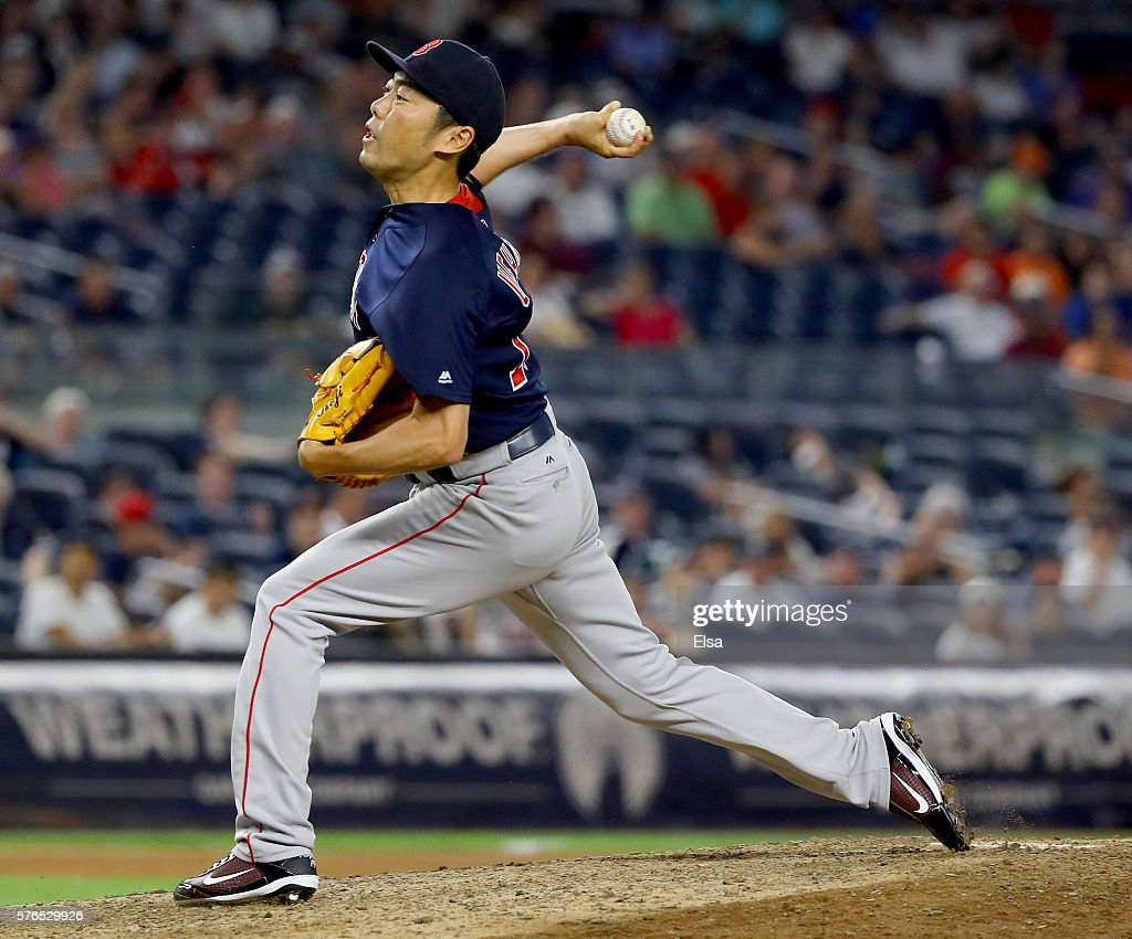 Koji Uehara #19 of the Boston Red Sox delivers a pitch in the ninth inning against the New York Yankees at Yankee Stadium on July 15, 2016 in the Bronx borough of New York City.The Boston Red Sox defeated the New York Yankees 5-3.