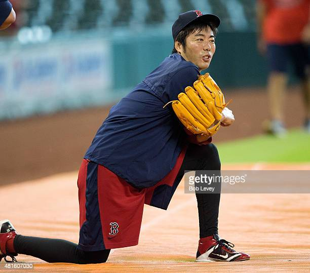 Koji Uehara of the Boston Red Sox during pregame warmk ups at Minute Maid Park on July 22 2015 in Houston Texas