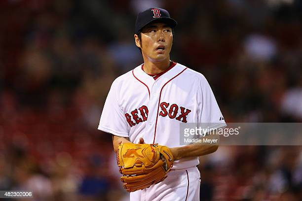 Koji Uehara of the Boston Red Sox looks on during the ninth inning at Fenway Park on July 29 2015 in Boston Massachusetts