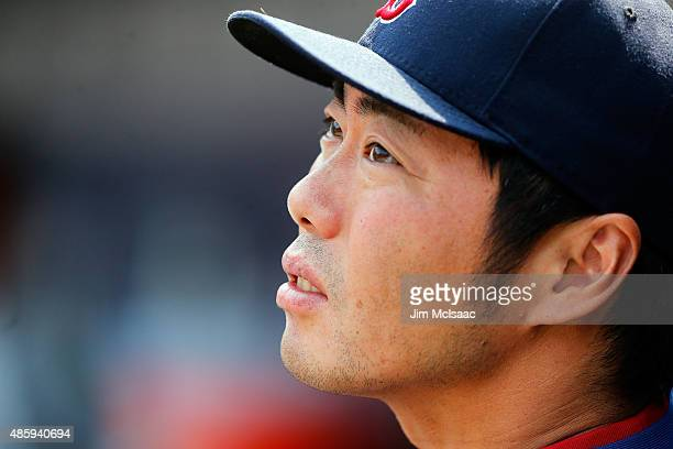 Koji Uehara of the Boston Red Sox looks on in the third inning against the New York Mets at Citi Field on August 30 2015 in the Flushing neighborhood...