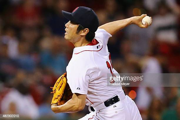 Koji Uehara of the Boston Red Sox pitches against the Chicago White Sox during the ninth inning at Fenway Park on July 29 2015 in Boston Massachusetts