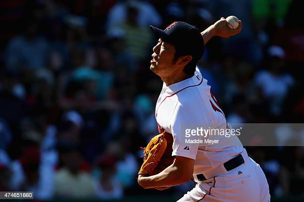 Koji Uehara of the Boston Red Sox pitches against the Los Angeles Angels of Anaheim during the ninth inning at Fenway Park on May 24 2015 in Boston...
