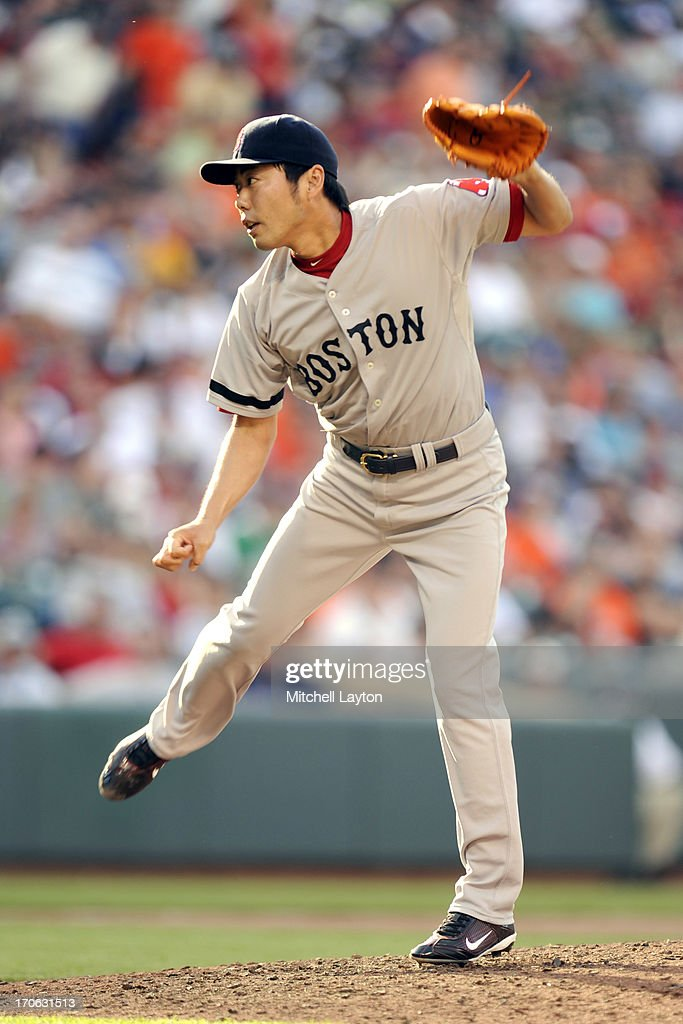 <a gi-track='captionPersonalityLinkClicked' href=/galleries/search?phrase=Koji+Uehara&family=editorial&specificpeople=801278 ng-click='$event.stopPropagation()'>Koji Uehara</a> #19 of the Boston Red Sox pitches during a baseball game against the Baltimore Orioles on June 15, 2013 at Oriole Park at Camden Yards in Baltimore, Maryland. The Red Sox won 5-4.