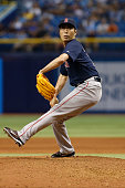 Koji Uehara of the Boston Red Sox pitches during the 10th inning of a game against the Tampa Bay Rays on June 26 2015 at Tropicana Field in St...