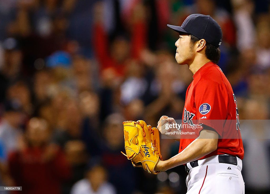 <a gi-track='captionPersonalityLinkClicked' href=/galleries/search?phrase=Koji+Uehara&family=editorial&specificpeople=801278 ng-click='$event.stopPropagation()'>Koji Uehara</a> #19 of the Boston Red Sox pitches in the 9th inning against the New York Yankees during the game on September 13, 2013 at Fenway Park in Boston, Massachusetts.