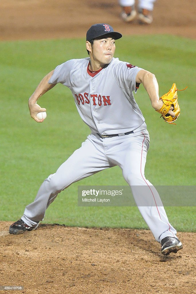 Koji Uehara #19 of the Boston Red Sox pitches in the ninth inning during a baseball game against the Boston Red Sox on June 10, 2014 at Oriole Park at Camden Yards in Baltimore, Maryland. The Red Sox won 1-0.