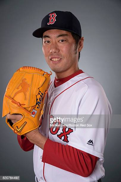 Koji Uehara of the Boston Red Sox poses for a portrait during team photo day on February 28 2016 at jetBlue Park in Fort Myers Florida