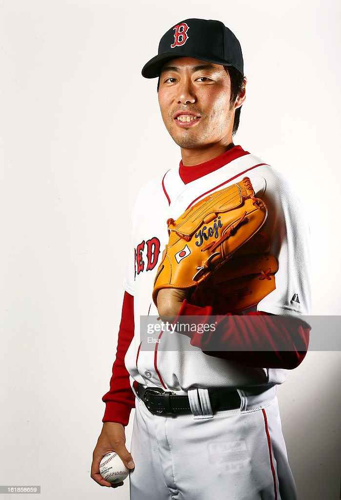 Koji Uehara #19 of the Boston Red Sox poses for a portrait on February 17, 2013 at JetBlue Park at Fenway South in Fort Myers, Florida.