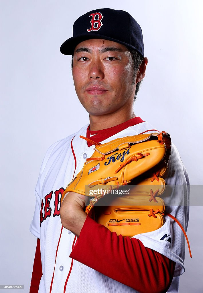 Koji Uehara #19 of the Boston Red Sox poses for a portrait on March 1, 2015 at JetBlue Park in Fort Myers, Florida.