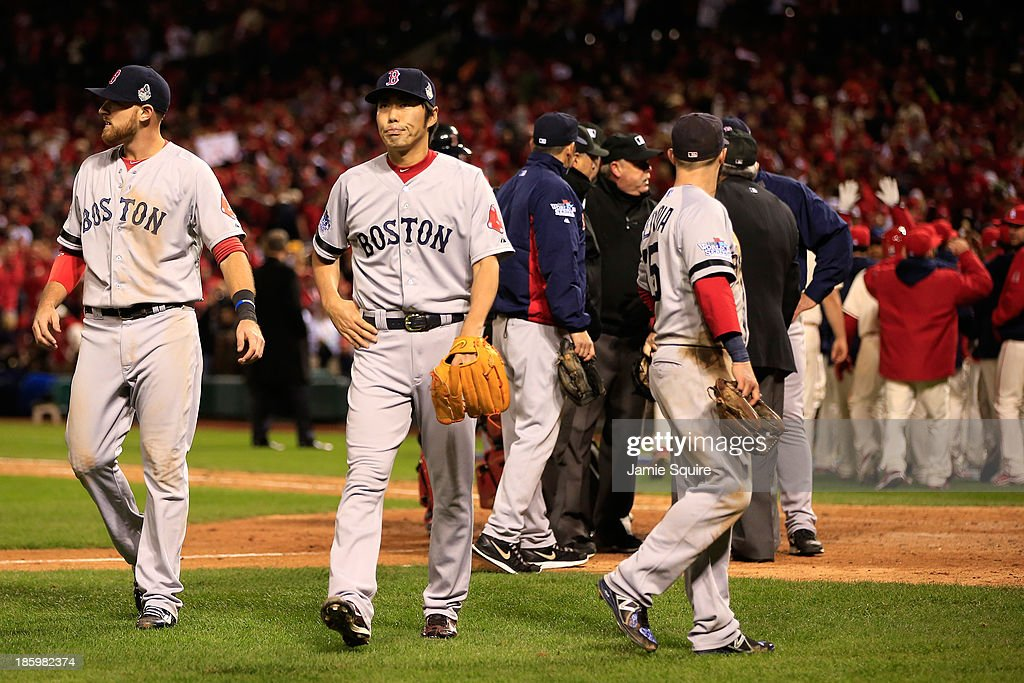 <a gi-track='captionPersonalityLinkClicked' href=/galleries/search?phrase=Koji+Uehara&family=editorial&specificpeople=801278 ng-click='$event.stopPropagation()'>Koji Uehara</a> #19 of the Boston Red Sox reacts after <a gi-track='captionPersonalityLinkClicked' href=/galleries/search?phrase=Allen+Craig&family=editorial&specificpeople=4405049 ng-click='$event.stopPropagation()'>Allen Craig</a> #21 of the St. Louis Cardinals was called safe at home to win Game Three of the 2013 World Series in the ninth inning at Busch Stadium on October 26, 2013 in St Louis, Missouri.
