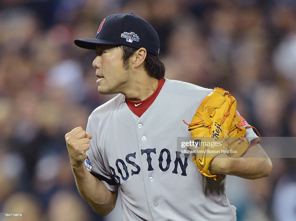<a gi-track='captionPersonalityLinkClicked' href=/galleries/search?phrase=Koji+Uehara&family=editorial&specificpeople=801278 ng-click='$event.stopPropagation()'>Koji Uehara</a> #19 of the Boston Red Sox reacts after collecting a save and securing a 1-0 victory against the Detroit Tigers in Game Three of the American League Championship Series on October 15, 2013 at Comerica Park in Detroit, Michigan.