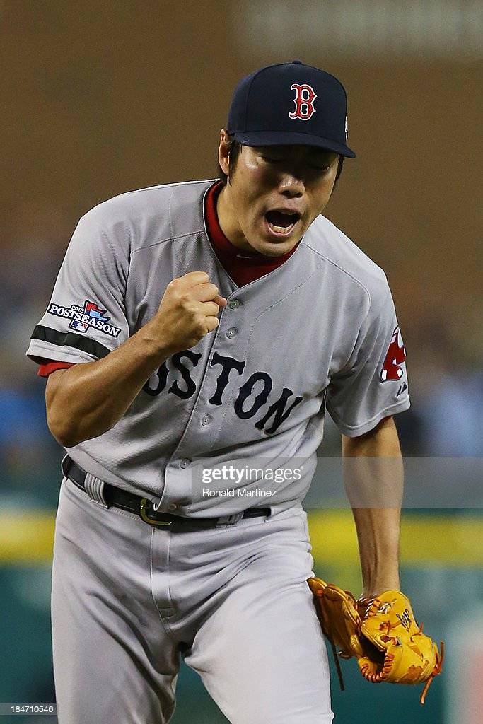 <a gi-track='captionPersonalityLinkClicked' href=/galleries/search?phrase=Koji+Uehara&family=editorial&specificpeople=801278 ng-click='$event.stopPropagation()'>Koji Uehara</a> #19 of the Boston Red Sox reacts after throwing the final strike of their 1 to 0 win over the Detroit Tigers during Game Three of the American League Championship Series at Comerica Park on October 15, 2013 in Detroit, Michigan.