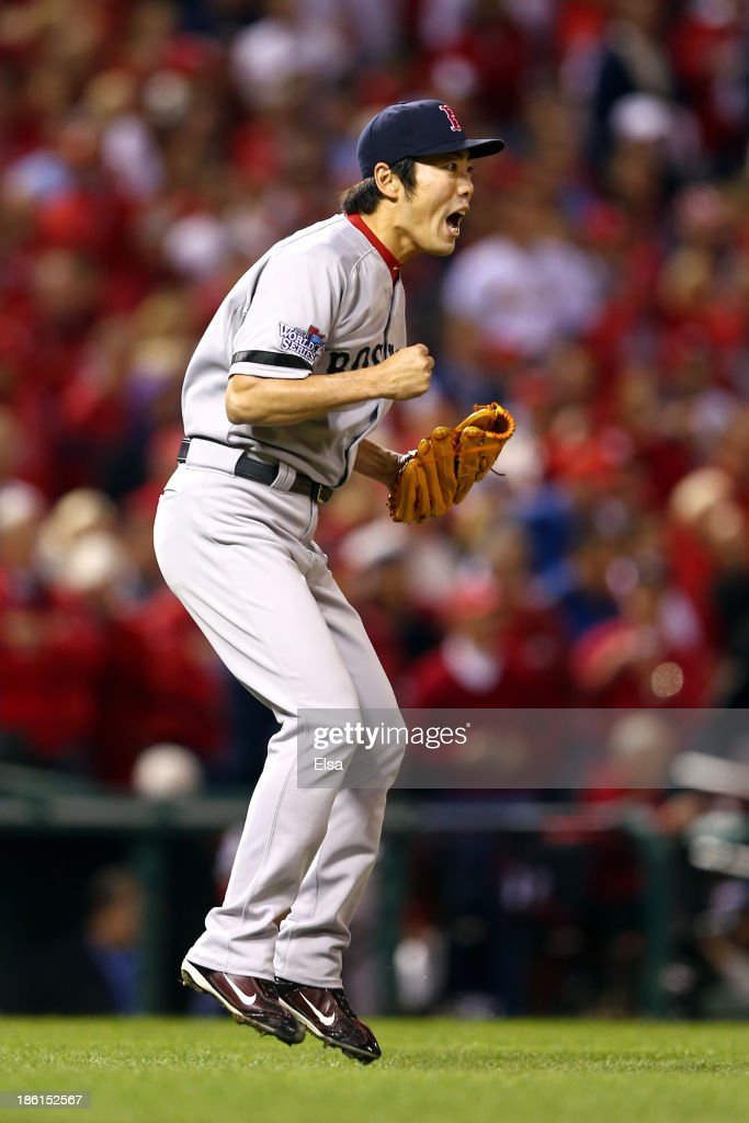 <a gi-track='captionPersonalityLinkClicked' href=/galleries/search?phrase=Koji+Uehara&family=editorial&specificpeople=801278 ng-click='$event.stopPropagation()'>Koji Uehara</a> #19 of the Boston Red Sox reacts as they defeat the St. Louis Cardinals 3 to 1 in the ninth inning of Game Five of the 2013 World Series at Busch Stadium on October 28, 2013 in St Louis, Missouri.