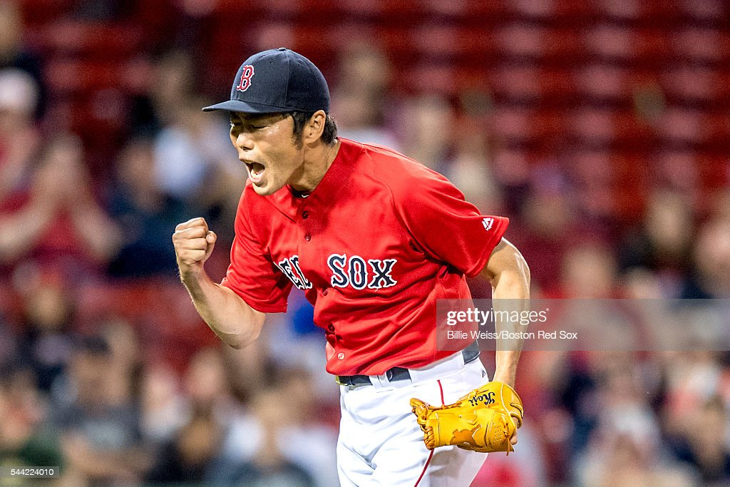 <a gi-track='captionPersonalityLinkClicked' href=/galleries/search?phrase=Koji+Uehara&family=editorial&specificpeople=801278 ng-click='$event.stopPropagation()'>Koji Uehara</a> #19 of the Boston Red Sox reacts during the eighth inning of a game against the Los Angeles Angels of Anaheim on July1, 2016 at Fenway Park in Boston, Massachusetts.