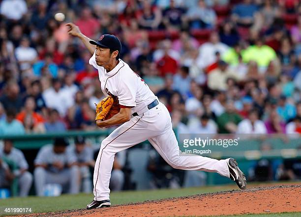 Koji Uehara of the Boston Red Sox throws against the Chicago White Sox in the ninth inning at Fenway Park on July 10 2014 in Boston Massachusetts