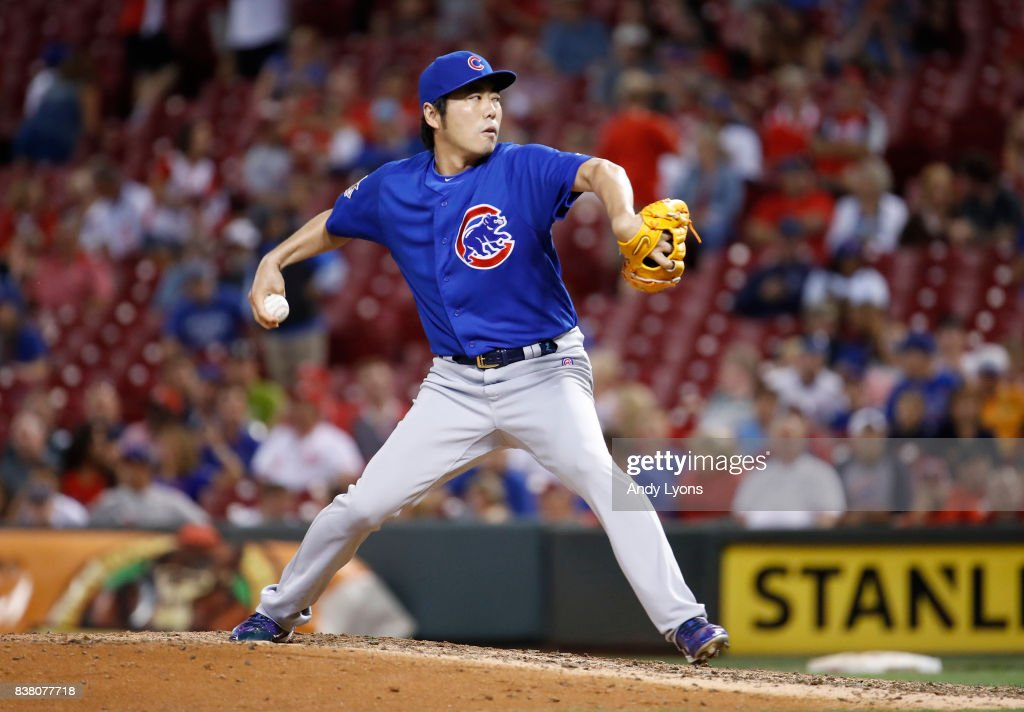 Koji Uehara #19 of the Chicago Cubs throws a pitch against the Cincinnati Reds in the 8th inning at Great American Ball Park on August 23, 2017 in Cincinnati, Ohio.
