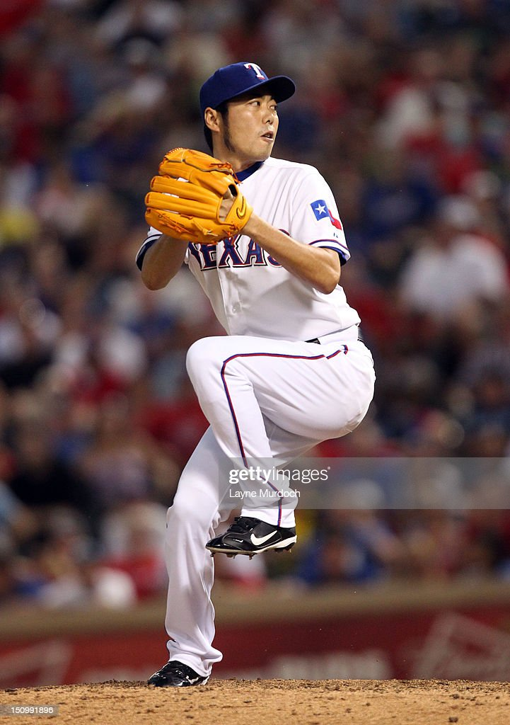 <a gi-track='captionPersonalityLinkClicked' href=/galleries/search?phrase=Koji+Uehara&family=editorial&specificpeople=801278 ng-click='$event.stopPropagation()'>Koji Uehara</a> #19 of the Texas Rangers pitches against the Tampa Bay Rays on August 29, 2012 at the Rangers Ballpark in Arlington in Arlington, Texas.