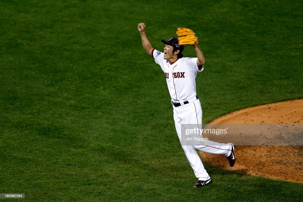 <a gi-track='captionPersonalityLinkClicked' href=/galleries/search?phrase=Koji+Uehara&family=editorial&specificpeople=801278 ng-click='$event.stopPropagation()'>Koji Uehara</a> #19of the Boston Red Sox celebrates after defeating the Detroit Tigers in Game Six of the American League Championship Series at Fenway Park on October 19, 2013 in Boston, Massachusetts. The Red Sox defeated the Tigers 5-2 to clinch the ALCS in six games.